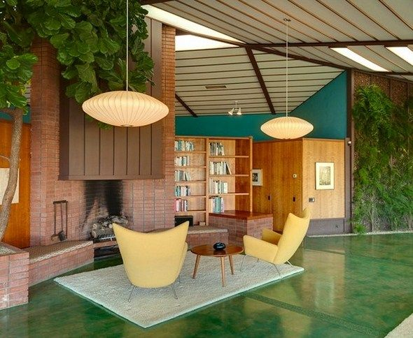 Charming Lounge Space Natural House Design Rodney Walker... George Nelson Lamps | http://modernica.net/saucer-lamp.html