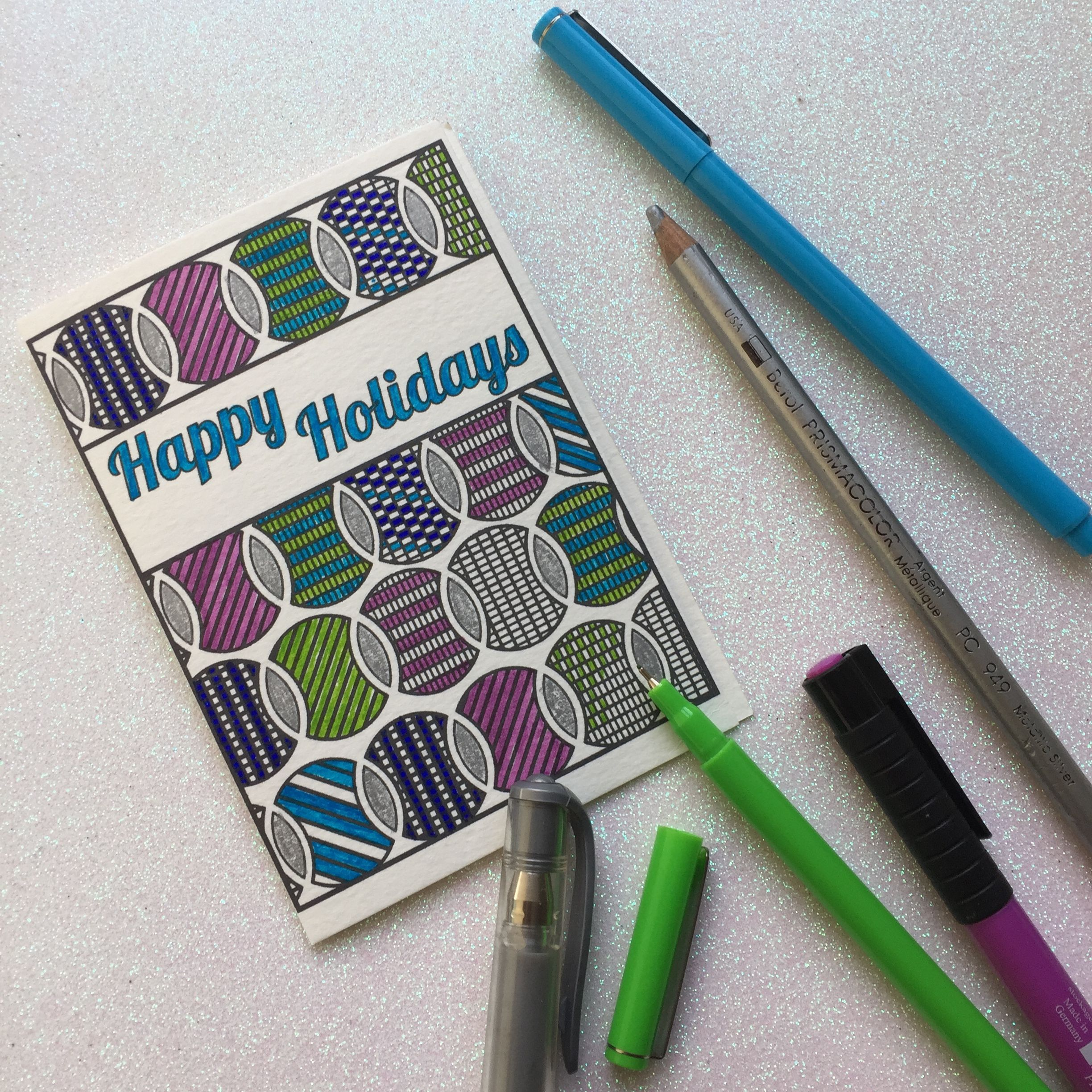 Printable Adult Coloring Holiday Cards 8 Pack Adult