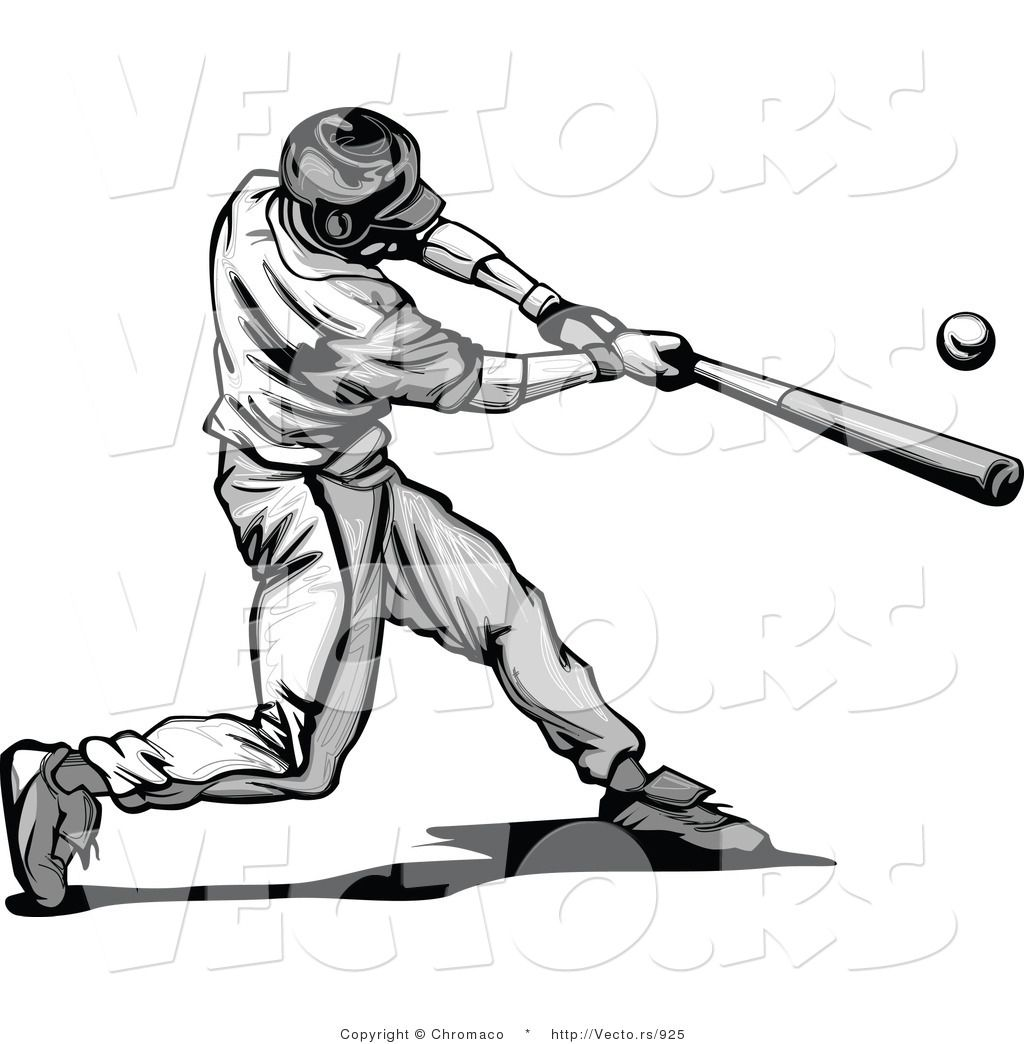 Vector Of A Baseball Player Hitting Ball With Bat Grayscale By Chromaco 925 Jpg 1 024 1 044 Pixels Baseball Players Best Baseball Player Baseball