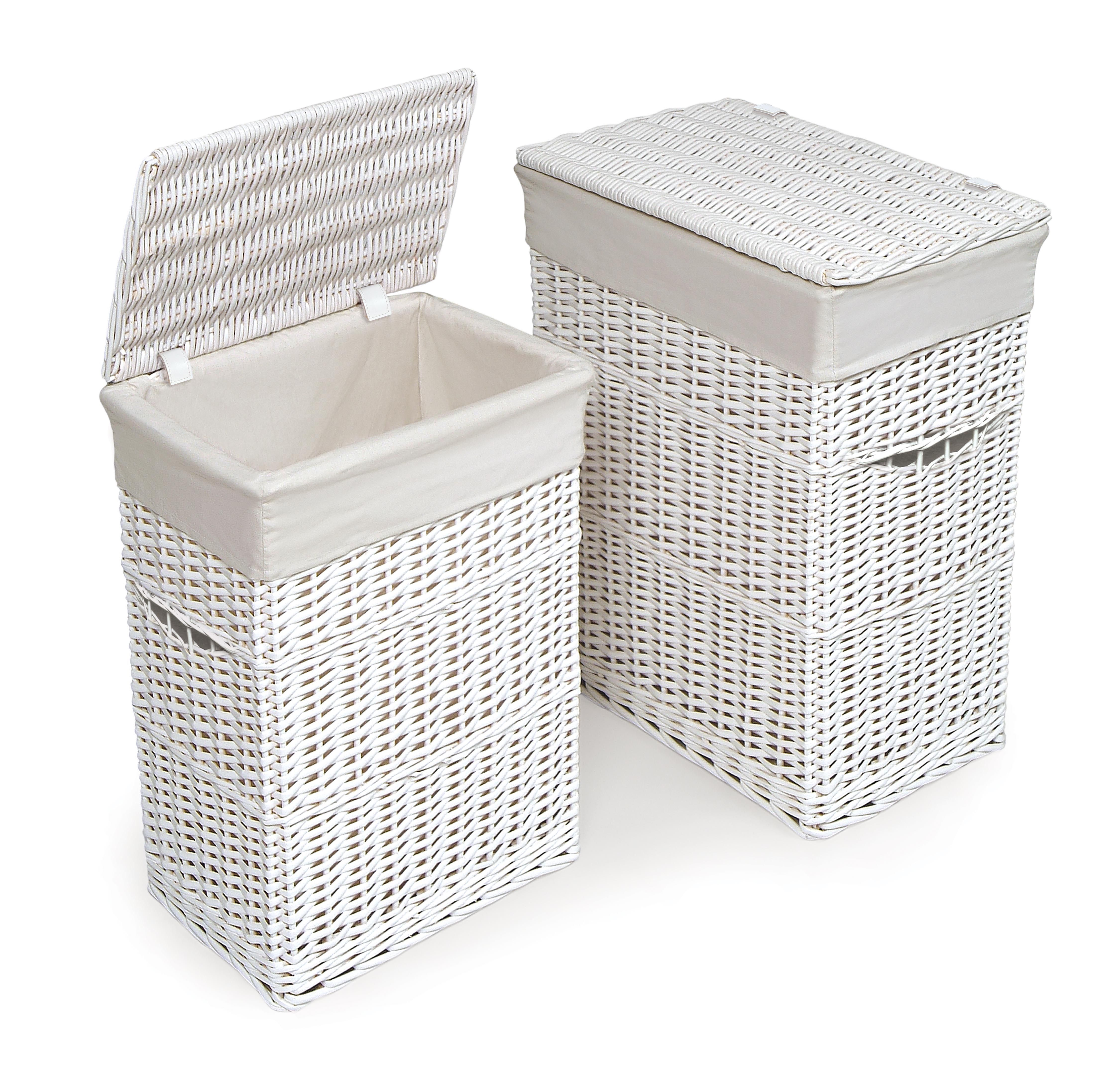 Rurality Round Wicker Laundry Basket With Lid And Linen Liner