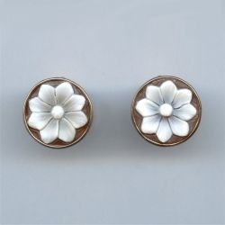 Sterling silver shell cameo earrings. Available at Argo & Lehne Jewelers.