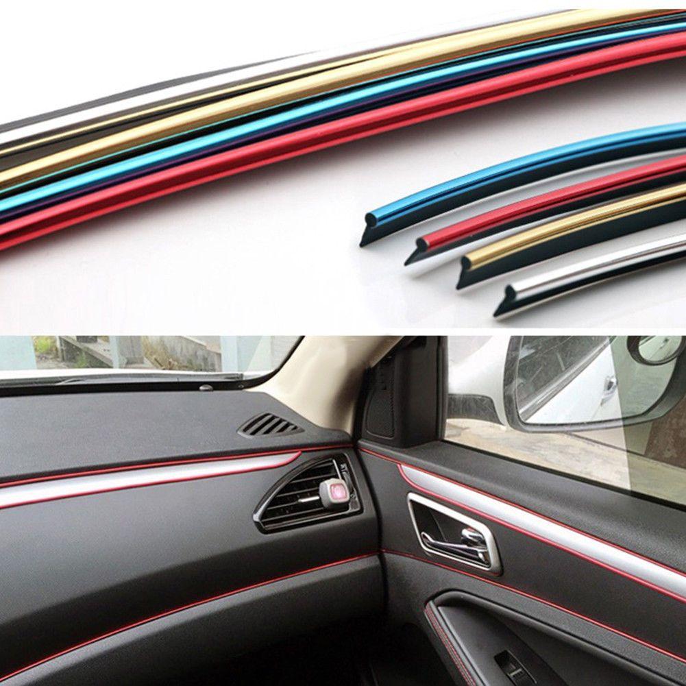 5M Car Interior Decorative Thread Stickers Decals Chrome