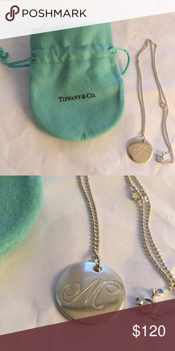"1dc0e55f7 Tiffany & Co. ""M"" Initial Necklace in silver An elegant script,"