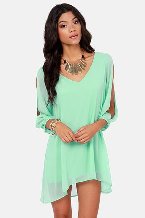 Shifting Dears Mint Blue Long Sleeve Dress | Blue long sleeve ...