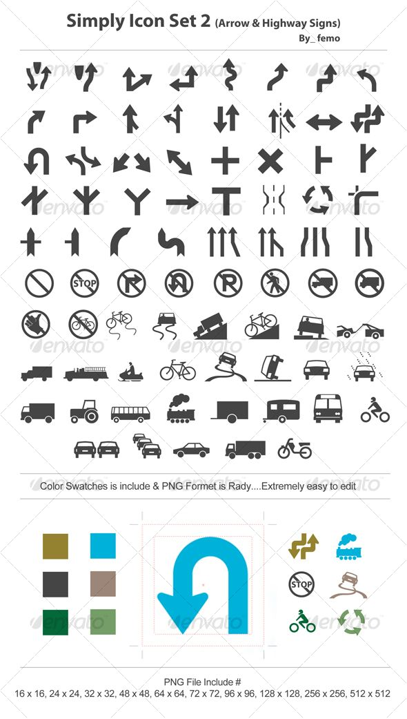 Simply Icon Set 2 Arrow Highway Signs Highway Signs Icon Set Icon