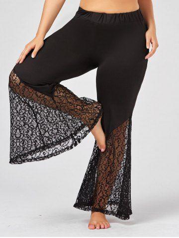 fe41cbb129911 Plus Size Lace Crochet Panel Bell Bottom Pants