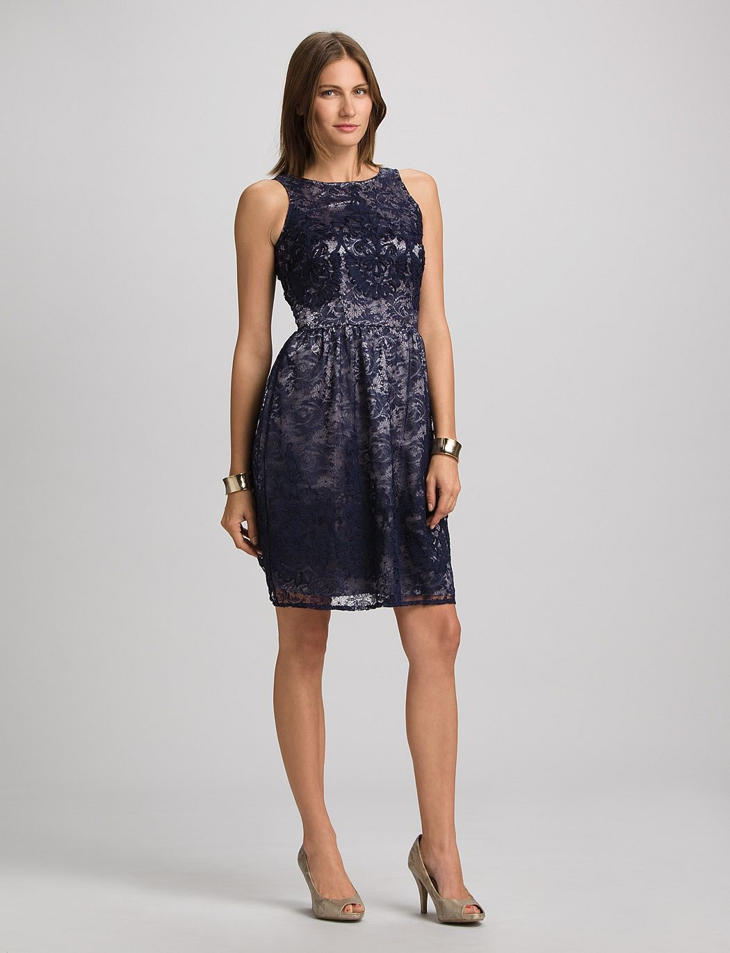   Textured Satin And Lace Dress   dressbarn