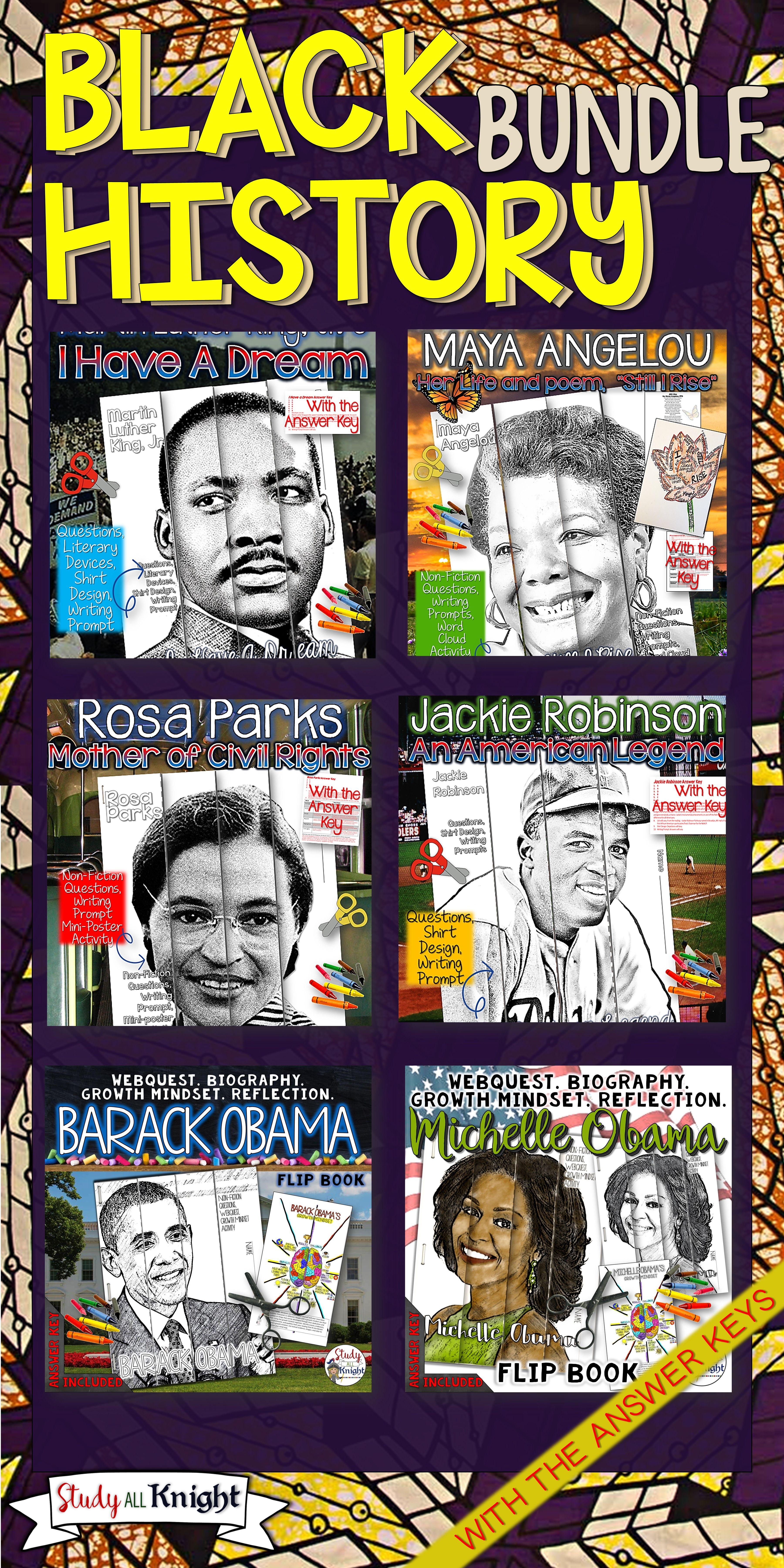Black History Month Activities Biographies Webquests Growth Mindset Bundle