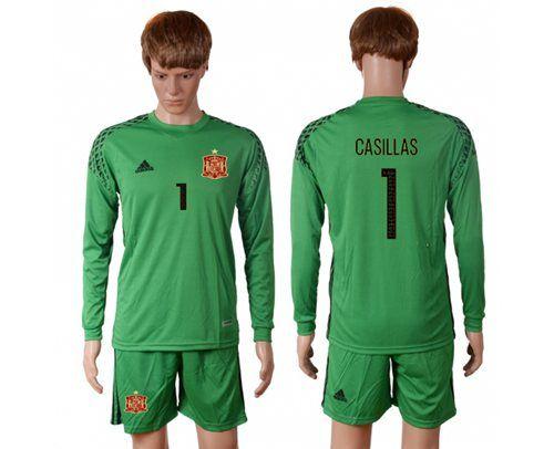 2016 European Cup Spain green goalkeeper long sleeves 1 CASILLAS Soccer Jersey