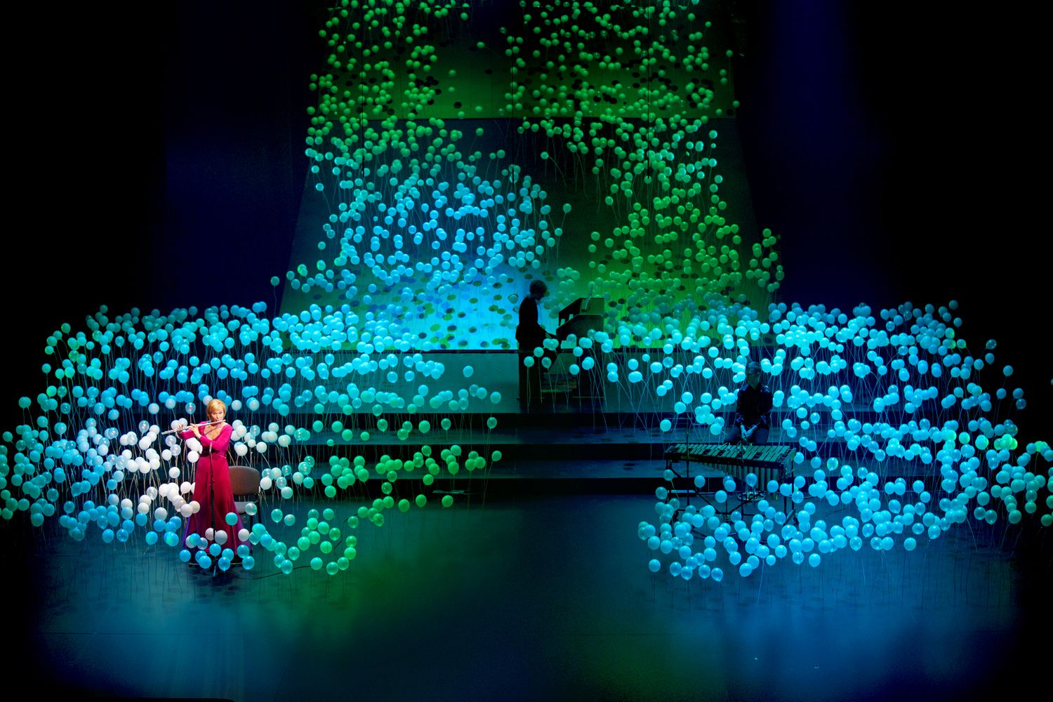 Scenography for the Grand Music Award 2014 ceremony is designed as an art installation that together with light and video projections creates overall playful atmosphere of the event. Musicians are integrated in artificial landscape of illusory depth.