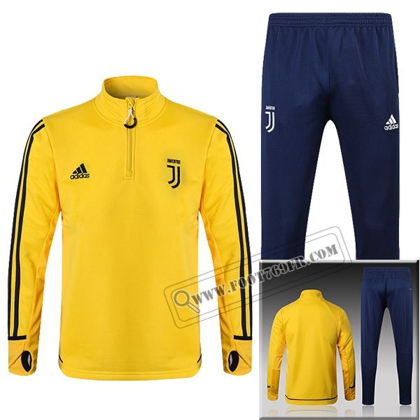Ensemble Du Nouveau Survetement Juventus Jaune Zip 20172018