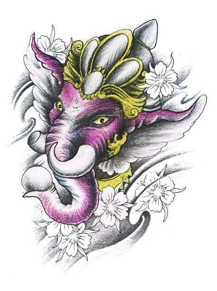 ganesh tattoo flash designs top quality high resolution color design with tattoo stencil. Black Bedroom Furniture Sets. Home Design Ideas