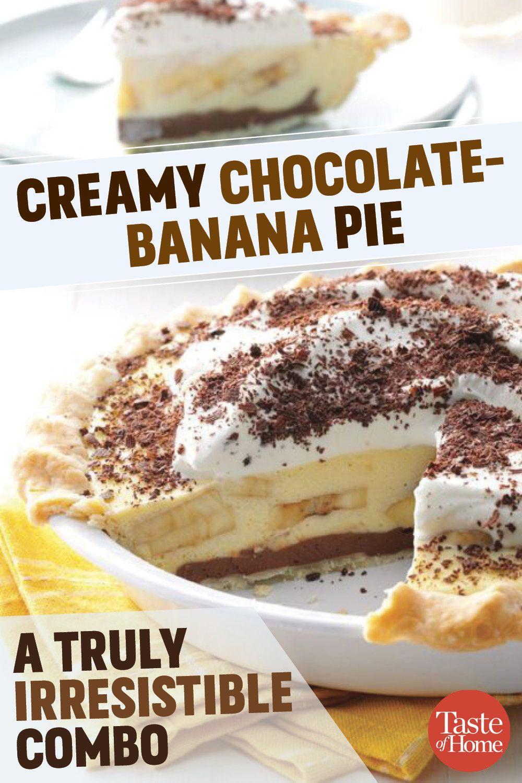 Creamy Chocolate-Banana Pie #bananapie