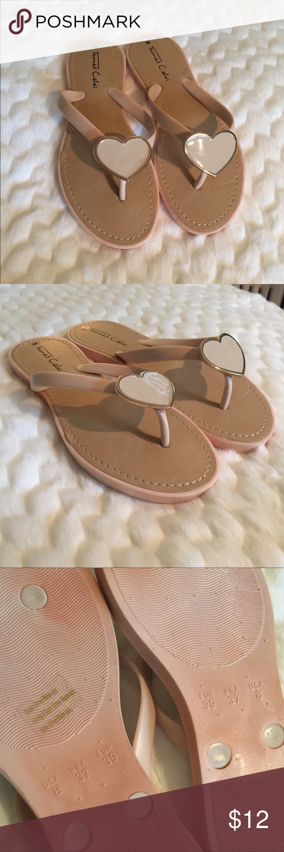 f95e36db716f Thomas Calvi Nude Sandals NWOT! These adorable nude flip flops feature a  shiny heart accent for a stylish touch. Summer is coming