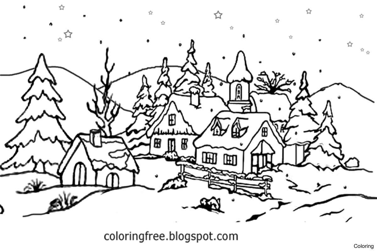 Clip Art Black and White Winter Scenes