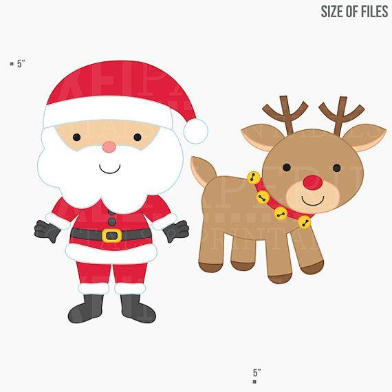 christmas clipart digital clip art santa rudolph elves elf ...