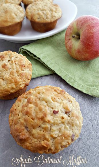 Healthy Apple Oatmeal Muffins Recipe Apple Oatmeal Muffins Oatmeal Muffins Apple Oatmeal