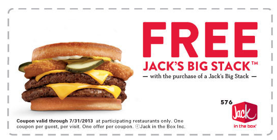 picture relating to Jack in the Box Printable Coupons named JACK Inside THE BOX $$ Reminder: Coupon for BOGO Cost-free Massive Stack