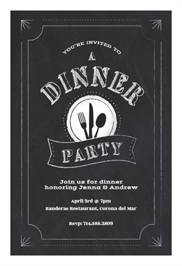 chalk board dinner party free printable party invitation template