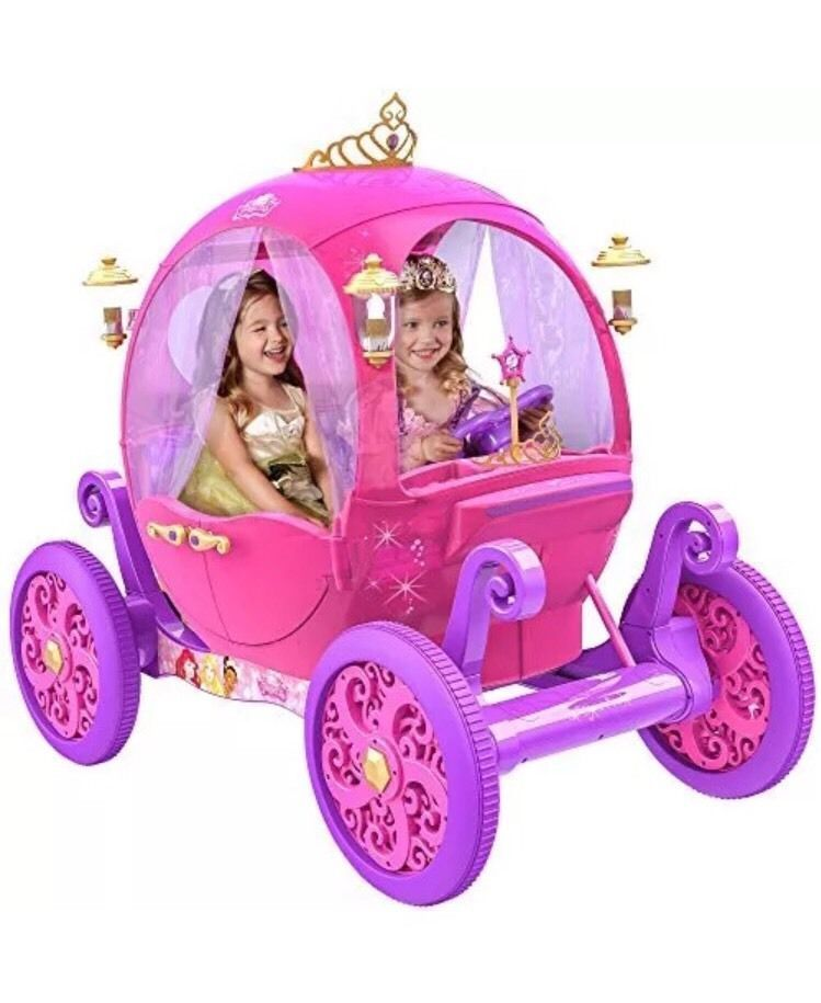 6d21a0314 Pink Ride On Toys for Girls Disney Princess Carriage 24V Battery Operated  Tiara  Dynacraft