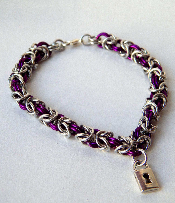 8 Inch Purple and Silver Aluminum Byzantine Bracelet with Lock Charm by SlaveVioletJewelry on Etsy