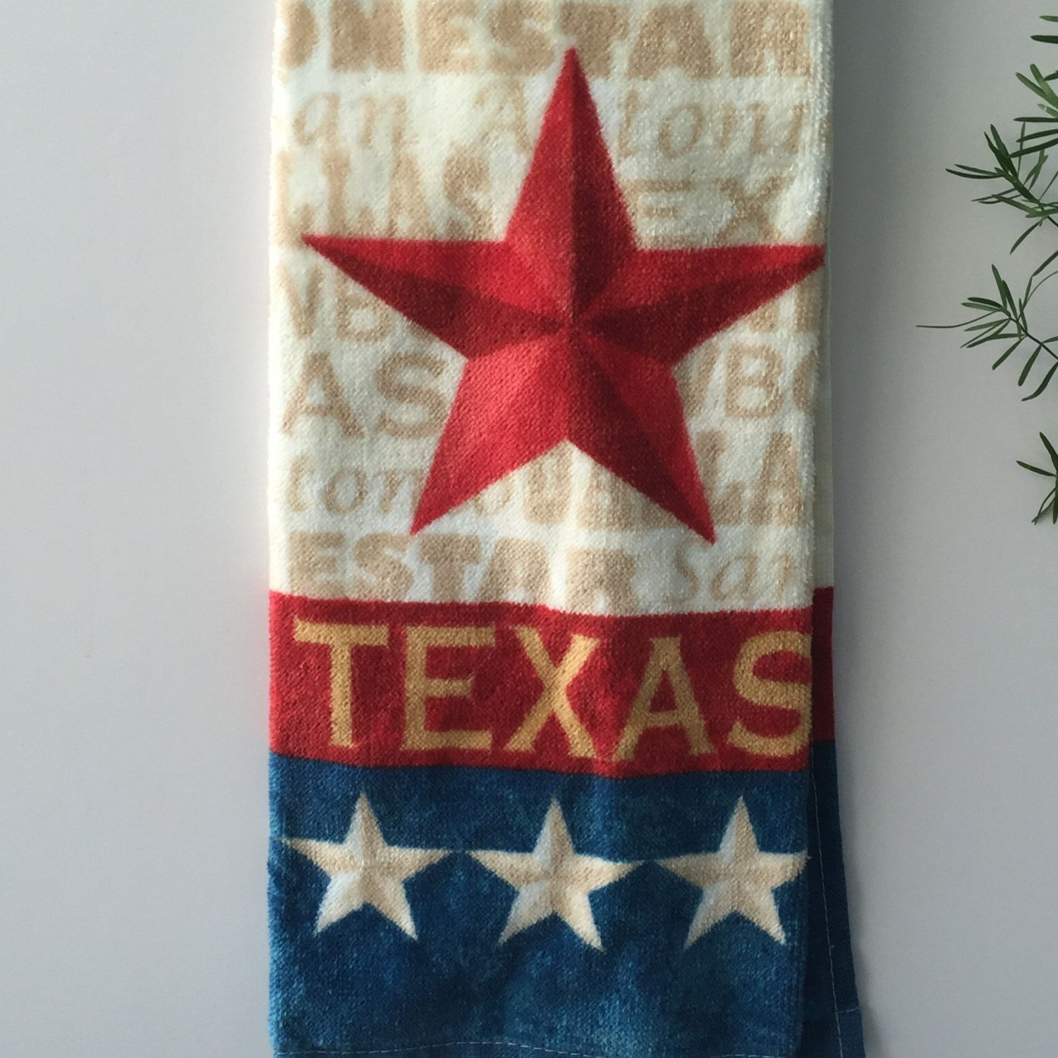 Great Texas Hanging Kitchen Towel With Ties / Texas / By Thestuffedcat