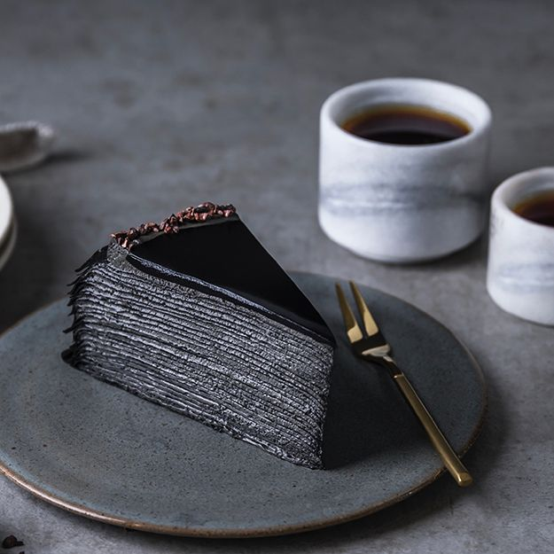 Lady M's all-new charcoal mille crepe has a secret