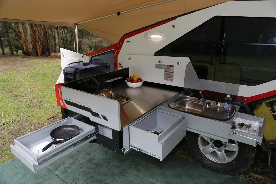 Rugged Teardrop Trailer Has Its Own Pull Out Kitchen Camper
