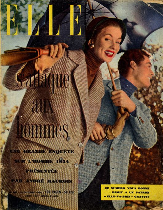 Couverture de Elle n°463 du 25 octobre 1954 - Paletot croisé de Jacques Fath - Photo Lionel Kazan