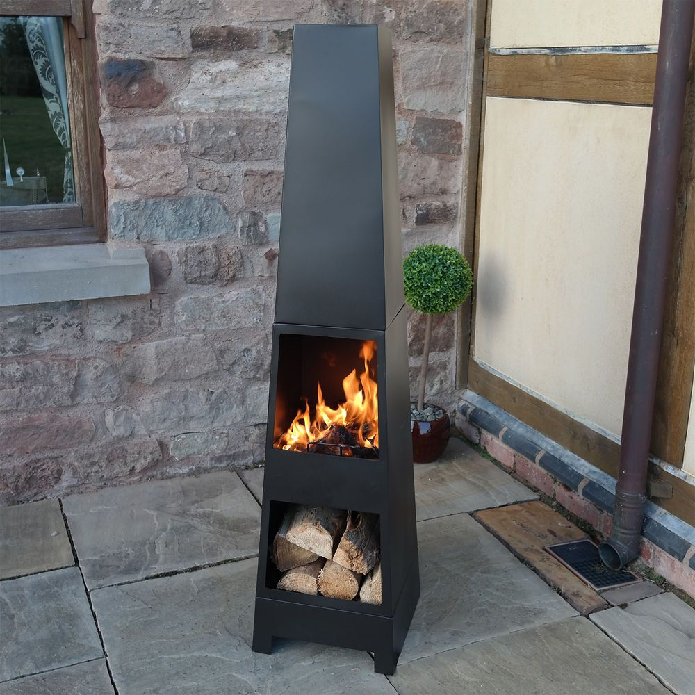 outdoor garden chiminea fire patio heater wood burner style