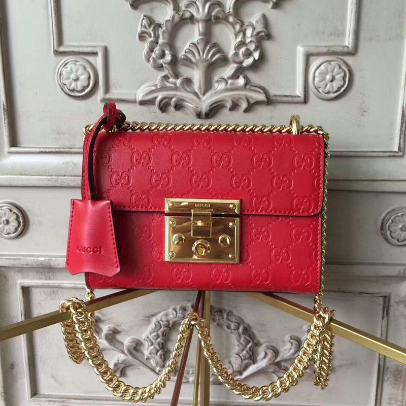 fbd1de5bf Gucci Padlock Small Gucci Signature Shoulder Bag 409487 Red | Gucci ...