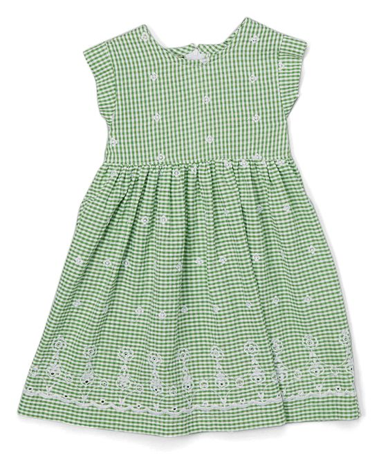 Green Gingham Cap-Sleeve Dress - Toddler & Girls