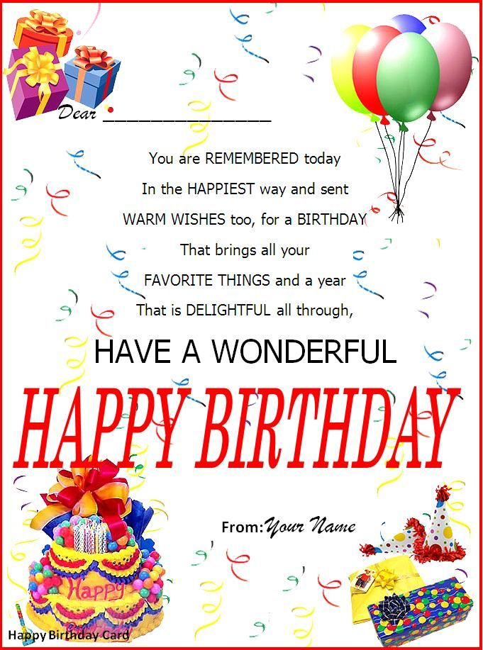 Birthday Card Word Template Happy Birthday Template Birthday Card Template Birthday Invitation Card Template