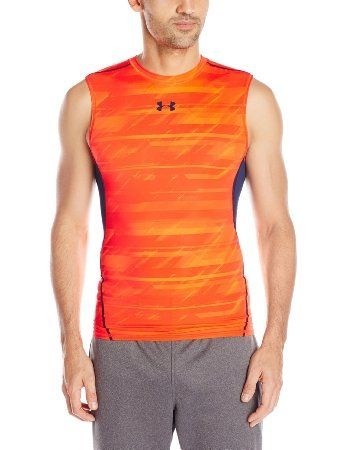 807bb797d5fd00 Under Armour - Men s HeatGear Armour Printed Sleeveless Compression Shirt  (Orange).