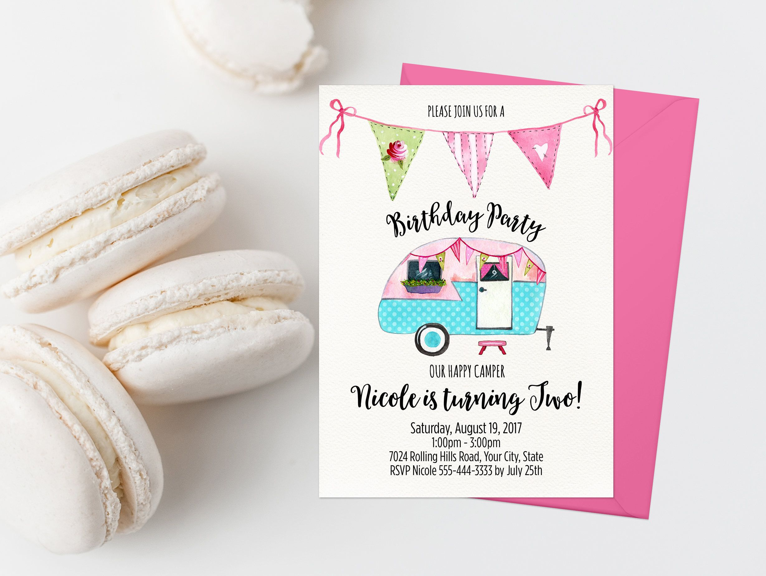 Happy Camper Birthday Party Invitation Personalized Number Is Turning One Two Girl Invites By