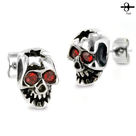 Surgical Stainless Steel Cracked Skull w// Red CZ Eyes Stud Post Earrings