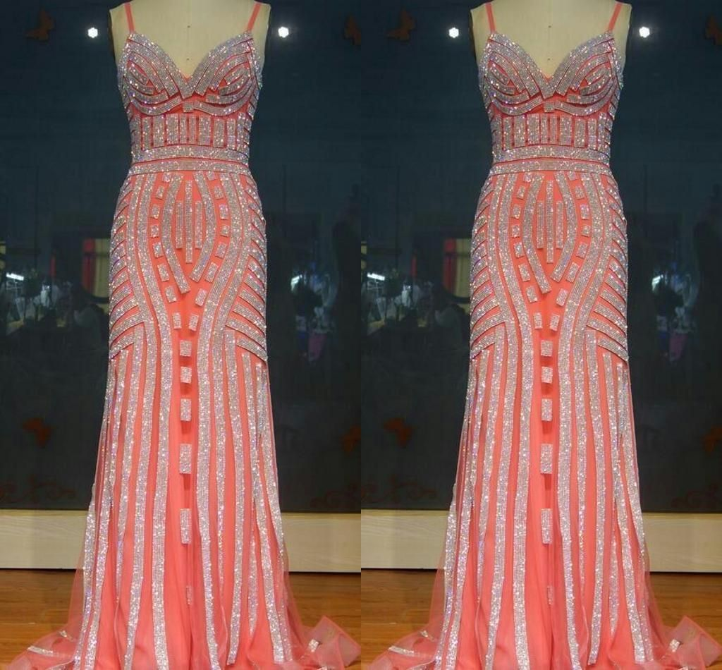Nice new crystals evening party gowns prom dress organza