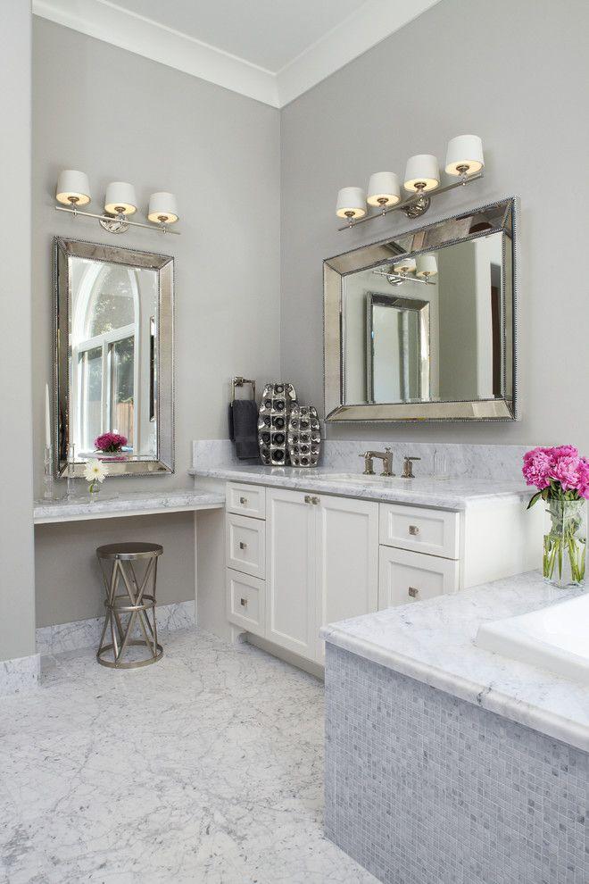 Vanity Light Fixtures For Transitional Bathroom With Tub Bathroom Decor Bathroom Design Transitional Bathroom