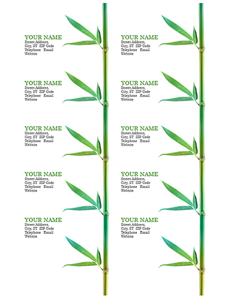 Business Cards Bamboo 10 Per Page Works With Avery 5371 And Similar Avery Business Cards Business Card Template Card Template