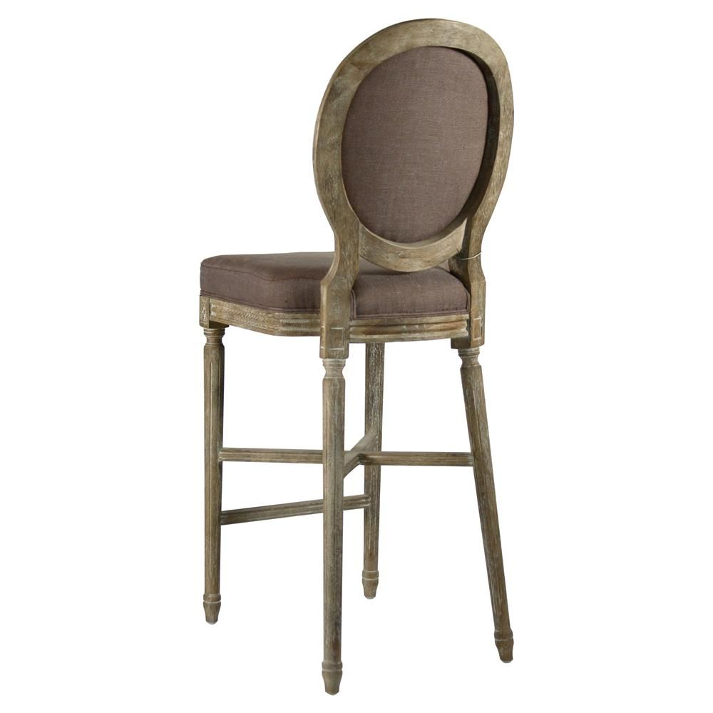 Medallion Oak French Country Bar Stool In Aubergine Brown Linen Bar Stools Charcoal Bar French Country Bar Stools