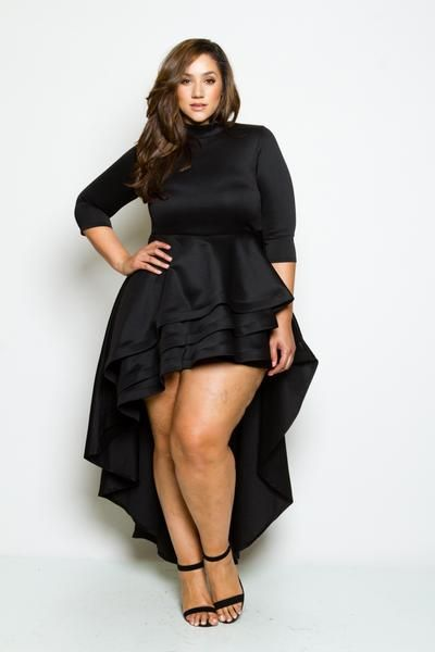 e13002d2813b Plus Size Hi-lo Cascade Ruffle Dress   walk in closet   Pinterest