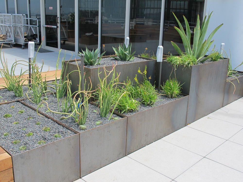 Corten Steel Planters Roof Terrace 2 Steel Planters 400 x 300