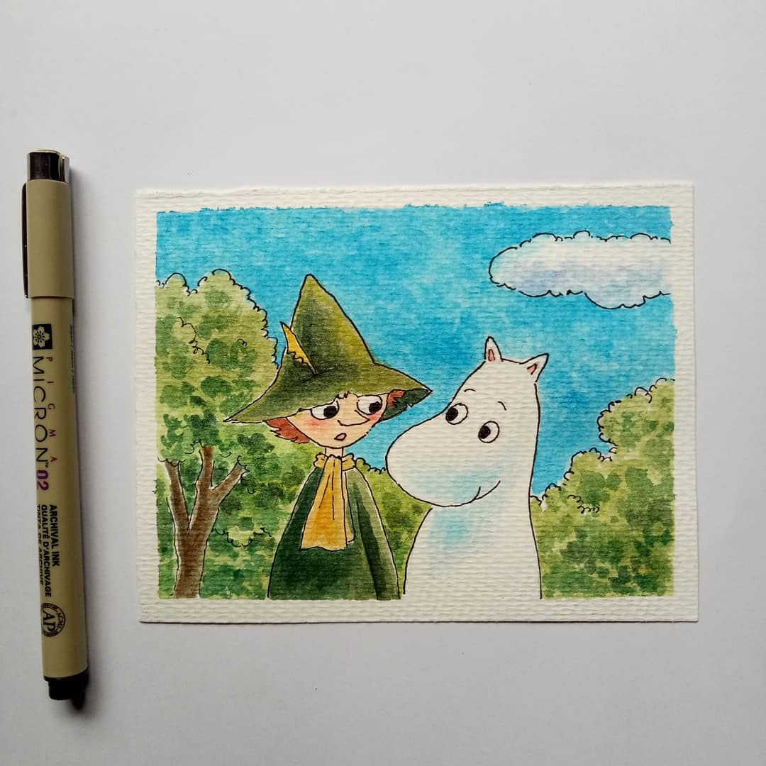 #snufkinfanart #drawing #moomin #watercolorillustration