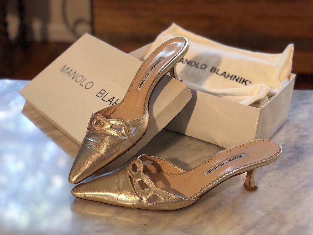 Manolo Blahnik Gold Kitten Heel Slide 40 Euc Holiday Ready Fashion Clothing Shoes Accessories Womensshoes H Gold Kitten Heels Kitten Heels Manolo Blahnik