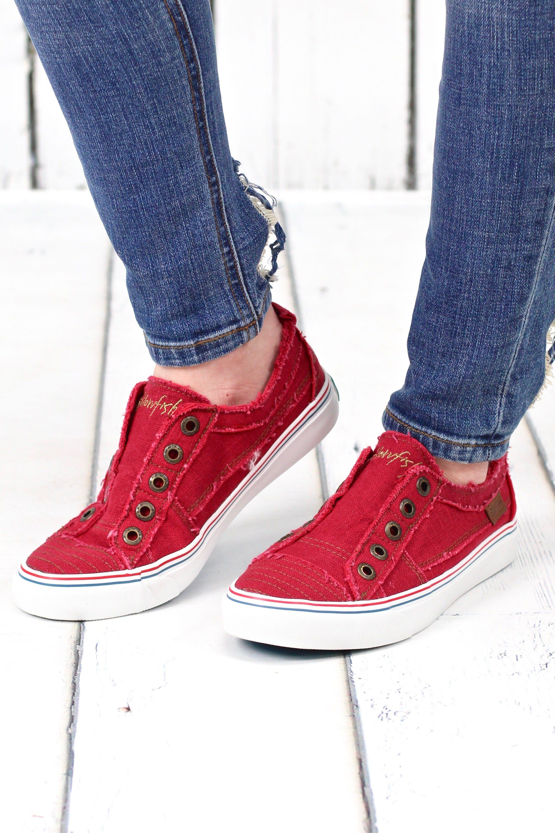 155e1a53a00b7 Play Hard Slip On Sneakers {Red} | Products | Slip on sneakers ...