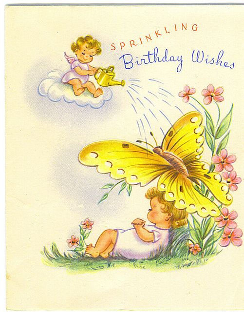 Angels Decorate Light Cake Birthday Card Vintage Greeting Cards Kids Birthday Cards Vintage Birthday Cards