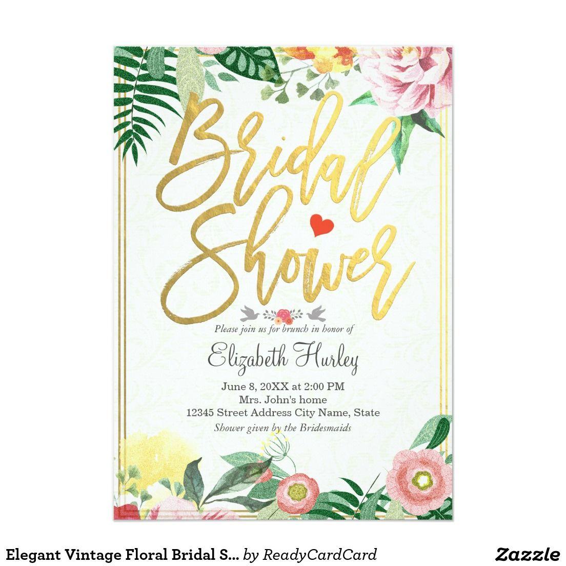 Elegant vintage floral bridal shower invitations bridal for Elegant bridal shower invitations