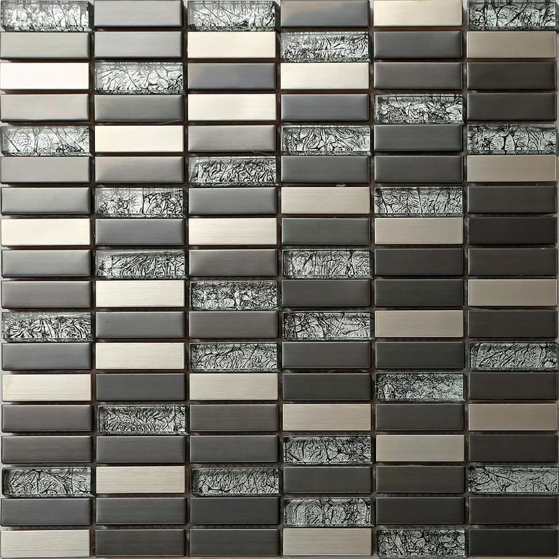 Verre Et Acier Inoxydable Mosaique Carrelage En Noir Et Argent 30