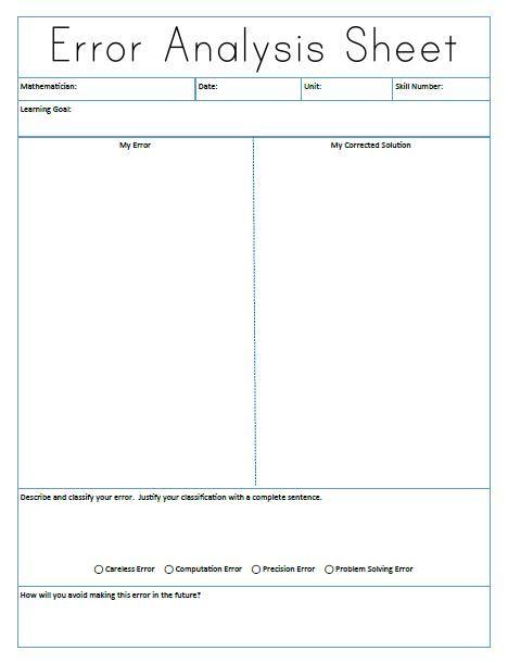 Math  Love Error Analysis Sheet  Types Of Errors Notebook Page