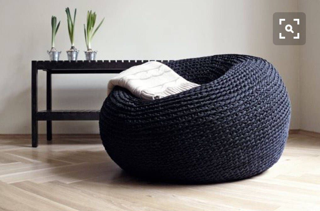 Sensational Giant Pouf Ottoman Xxxl Knitted Pouffe Modern Bean Bag Machost Co Dining Chair Design Ideas Machostcouk